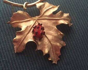 Vintage 1960's Sarah Coventry Ladybug Gold Leaf Brooch