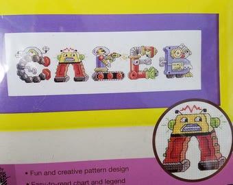 Robot inspired alphabet to Cross stitch