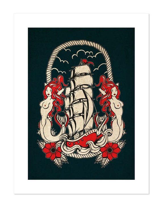 Neo Traditional Mermaid Tattoo: Mermaid's Ship Voyage Neo-Traditional Tattoo Flash