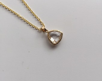 Clear Stone Triangle Pendant on a 18k Gold Filled Chain