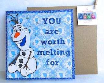 Frozen Olaf Card - Frozen Greeting Card - Olaf Greeting Card - Snowman Card - Handmade Card
