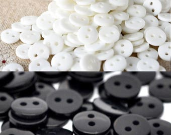 50 Small Black or White 9mm Resin Buttons, Black buttons, White buttons, RB01