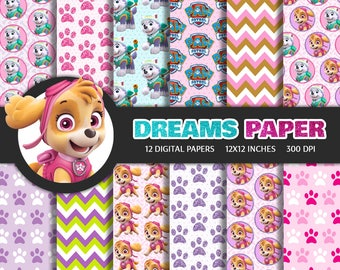 Paw Patrol for Girls - Digital Paper + Free Clipart