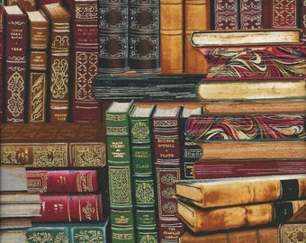Library Books trimmed in Gold Timeless Treasures