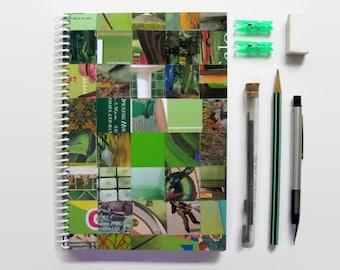 Green Notebook - Blank Sketchbook, Paper Writing Journal, White Pages, Handmade, OOAK, Back to School, Spiral Notebook, Cute, Teacher Gift