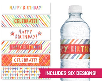 Happy Birthday Water Bottle Labels - Celebrate Birthday Party Supplies - Children's Birthday DIY Labels - Kids B-Day Party Printables S1183
