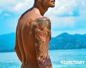 Koi Temporary Tattoo Sleeve Japanese Tattoo Koi Fish Tattoo Men Temporary Tattoo Large Arm Tattoo Full Arm Tattoo Faux Tatouage Temporaire