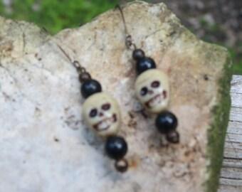 Czech Glass Skull Earrings