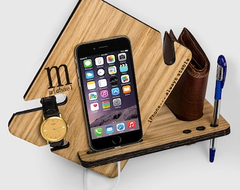 Watch and Wallet Docking Station for iPhone 6, iphone 7, custom personalized engraving, Cell Phone Dock, gift for boyfriend or husband