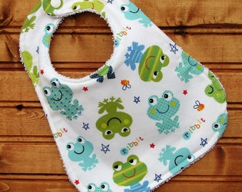 Bib - Baby Bib - Frog Ribbit - Gender Neutral Baby Bib for Baby Girl or Baby Boy - Drool Bib - Shower Gift