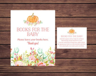 Pumpkin Baby Shower Bring a Book Instead of a Card Insert, Book Request, Pink Floral Fall Autumn Book Insert Instant Download  117 Printable