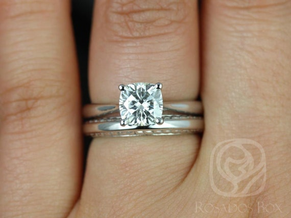 Rosados Box Florence 6.5mm & Alexis 14kt White Gold Cushion F1- Moissanite Cathedral Solitaire Wedding Set