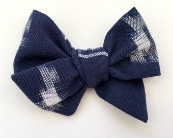 Navy blue Ikat fabric handmade hand tied bows // The Mini Moo