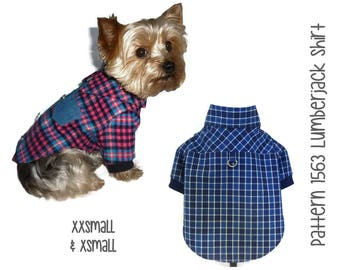 Lumberjack Dog Shirt Pattern 1563 * Dog Clothes Patterns * Flannel Dog Shirt * Dog Shirts * Dog Clothing * Small Dog Clothes * XXSm & XSm