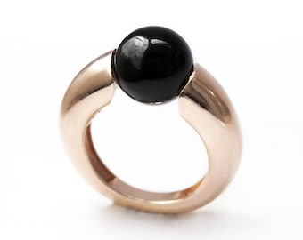 Black onyx ring in rose golda statement Cocktail Ring, Solitaire Gemstone Ring, Onyx ring, minimalist  simple ring by Cadi