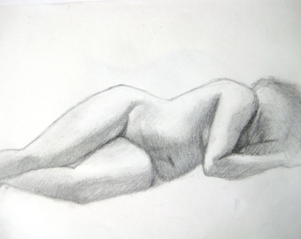 "Female Figure Drawing - Reclining Nude Female Figure - original graphite drawing, 9x12 ""Maggie"""