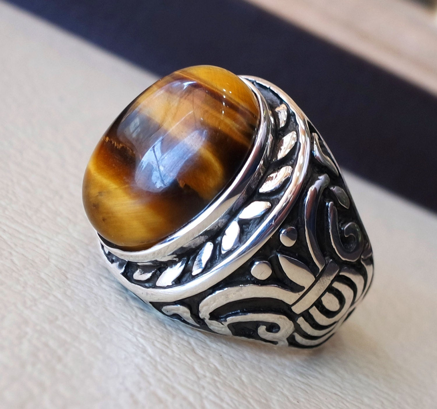 collections cameo grecian rings yellow mens men s tiger eye sohojewelers antique vintage gold warrior retro jewelry estate ring tigers com
