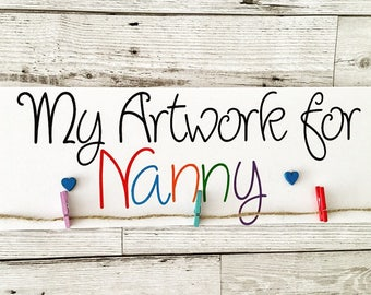 Art Display Board, My Artwork for Grandma, My Artwork for Nanny, Childrens Artwork, Playroom Decor