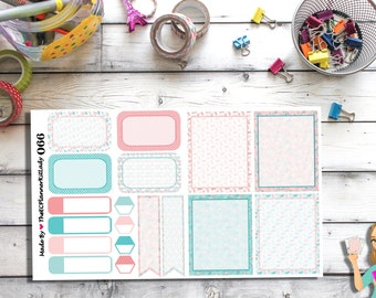 066 - (Pink/Blue Flamingo Sticker Set) Flamingos, Planner Sticker, Kiss Cut Stickers