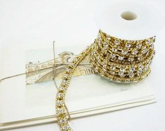 Gold Rhinestone Chain, Wedding Rhinestone Trim, Rhinestone Applique, Clear Crystal Trim,10mm ( 5 Yard Roll )