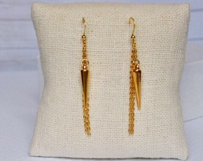 Gold Athena Drop Earrings, Dangle Earrings, Spike Jewelry, Boho Jewelry, Gold Earrings, 14k gold plated