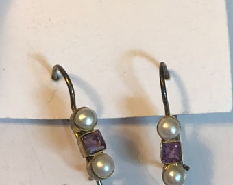 Sterling Silver and Pearl Small Dangle Earrings