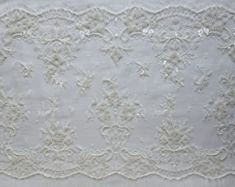 Hand Embroidered French Lace in Ivory