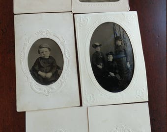 Embossed and Elegant:  Lot of 6 Antique Tintype Photographs in Beautifully Embossed Paper Frames, Mixed Subject Portraits