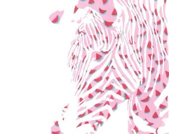 Watermelon Zebra - Animal Print (Matted)