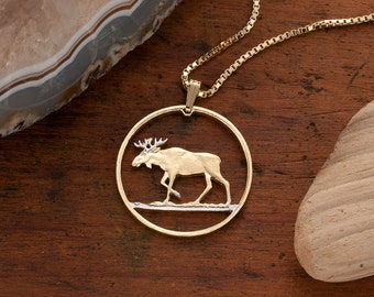 Moose jewelry etsy moose pendant necklace poland 100 zlotych coin hand cut 14 karat gold and rhodium plated 1 14 diameter 913 aloadofball Images