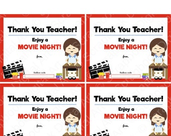Printable   4x5 Thank You Teacher, Redbox Gift Card Tag, Printable Card,  Enjoy A Movie Night.