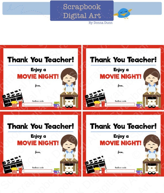 Printable - 4x5 Thank you teacher, Redbox Gift Card Tag, Printable ...