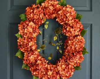 Oval Hydrangea Wreath | Front Door Wreaths | Summer Wreath | Hydrangea Wreath | Outdoor Wreath | Fall Wreath Decor | Housewarming Gift