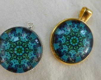 Gold or silver pendant and turquoise Mandala