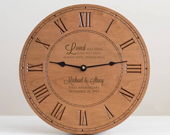 Personalized Anniversary Wood Clock: Custom Engraved Anniversary Gift, Personalized Anniversary Gift, 1st Anniversary Gift, Wood Anniversary