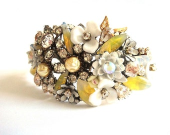 Wedding cuff bracelet in white and yellow - shabby chic vintage collage statement - bridesmaids gift - rhinestones and flowers