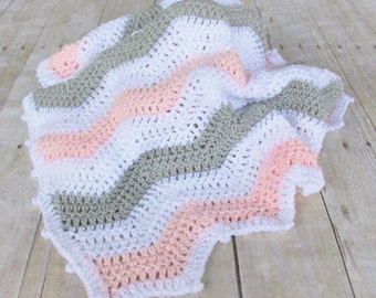Pink Grey Chevron Baby Blanket, Crochet Baby Blanket, Ready to ship, Pink Chevron Blanket, Chevron Nursery, Hand Crochet, Chevron Afghan