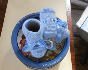 Light blue acrylic wool baby booties