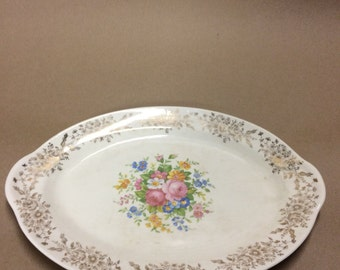 Taylor Smith and Taylor Oval Platter, Early 20th Century, Floral Rose Pattern