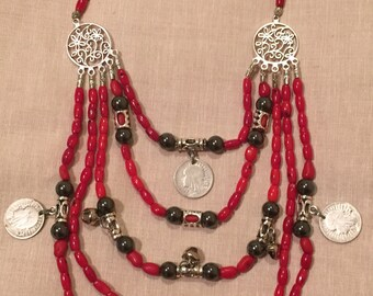 Ukrainian coral necklace with silver coins