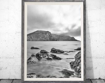 Mountains Print, Black And White Stones Print,  Beach photograph, Black and white photo, Black and white decal , beach photo, home art decor