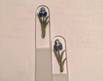 Czech Glass Nail File Set of Two Hand Painted with Blue Iris