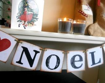 NOEL / Christmas banner di ispirazione Vintage / vacanza ghirlande /Christmas Banner/Jul/Weihnachten/Navidad/Natale/Natal/Joulu/Karacsony/Natale
