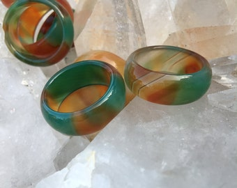 Agate Ring, Thick Green And Brown Banded Agate Ring, Agate Gemstone Band, Agate Ring