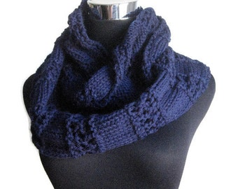 Navy Lace Striped Infinity Scarf, Winter Accessories, The Stacey Scarf, Cowl Scarf, Blue Knit Circle Scarf, Vegan Knit Scarf Infinity