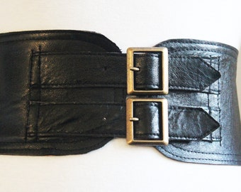 Black Leather Corset Belt  Two Buckle Belt   Corset Waist Belt   Leather Buckle Belt   Black Leather Belt  Corset Wide Belt  Plus Size Belt