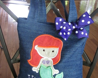 TOTE BAG Ariel from Disney The Little Mermaid Personalized Toddler or Big Kid Tote