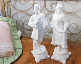 Victorian Plaster Paris Wedding Couple, Plaster Paris Collectible, Plaster Paris Figurine, Victorian Home Decor, Vint Home Decor, Wedding, *