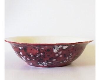 Vintage Large Red and Navy Splatterware Ceramic Bowl