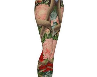Eden Floral Leggings - Yoga Leggings, Snake Leggings, Floral Print, Printed Leggings, Yoga Pants, Black Mamba Snake, Peonies